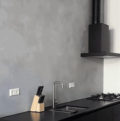 Betonlookverf - inspiratie - keukens - kiezel - modern