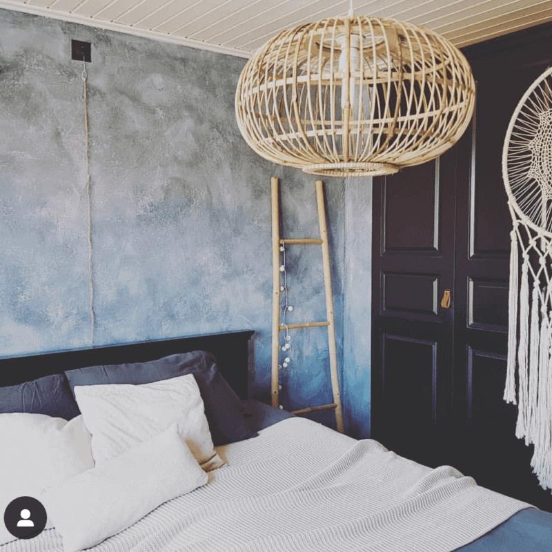 Betonlookverf - blauwsteen - hotel - slaapkamer