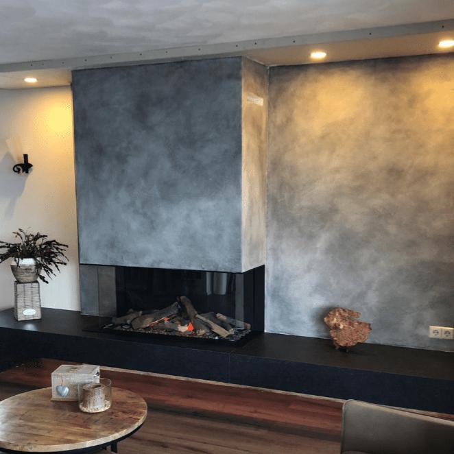 Betonlookverf - inspiratie - schouw - beton - open haard