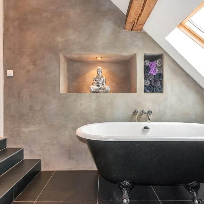Betonlookverf - inspiratie - badkamer - Cement - bad